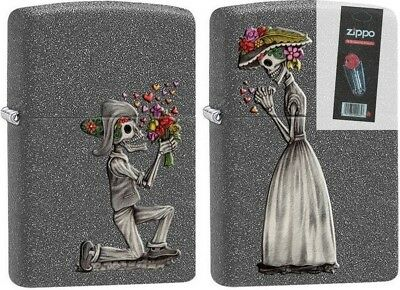 Zippo 28987 skeleton love 2 piece set iron stone full size Lighter + FLINT PACK
