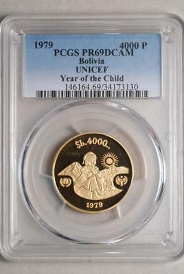 Bolivia 1979 4000 Pesos Bolivianos PCGS PR69DCAM Year of the Child (50G)