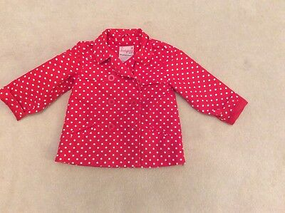 Girl's red and white polka dot double breasted jacket, age 2-3, very good cond.