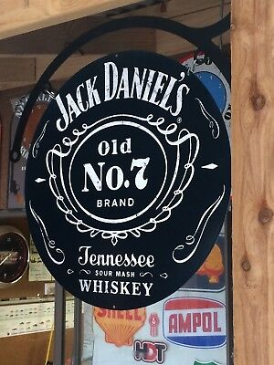 Jack Daniels Old No 7 Tin Metal Sign With Hanger Dbl Sided  Heavy Duty New