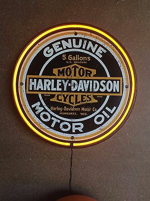 Harley Davidson Motorcycles Genuine Motor Oil 800Mm Diameter  Neon Sign