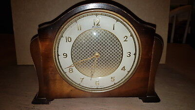 British Bentima Wooden Clock With Stunning Gold Centre Design Art Deco Clock/ Wo