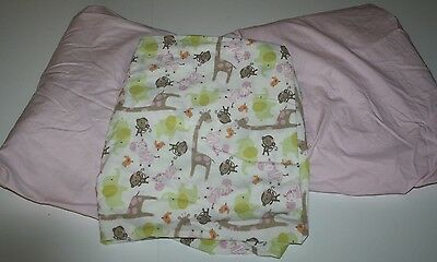 Carters Nursery Bedding Baby Girl PINK JUNGLE Crib Toddler Bed Fitted Sheet Set