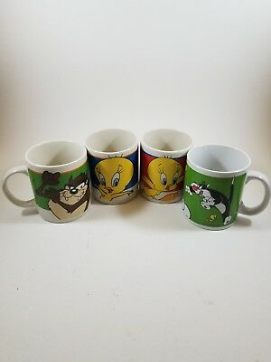 Looney Tunes Coffee Cup Mug WB by Gibson Lot 4 Tweety Bird Taz  Sylvester Cat
