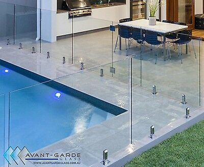 2000x1200x12mm DIY Frameless Glass Pool Fencing From $158/m -Fence Panels Sydney
