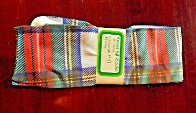 Vtg NWT 70s New Knee High Trouser Socks Nylon Plaid Gaymode JC Penney