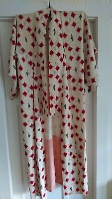 Lovely Cream With Red, Black, Silver Pattern Vintage Japanese Full Length Kimono