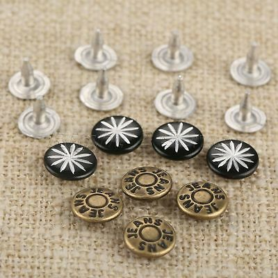100Pcs 9mm Rivets Fasteners Studs Button+100 Nails For Jeans Fasterners 2 Style