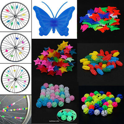 36pc Colored Bicycle Bike Wheel Plastic Spoke Bead Children Kids Clip Decoration