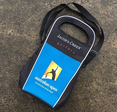 JACOB'S CREEK AUSTRALIAN OPEN Black Collectable Insulated Wine Bottle Carry Bag