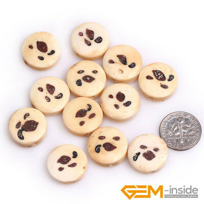 17mm Coin Hand-Carved Animal Buffalo Bone Loose Beads For Jewelry Making 12 Pcs