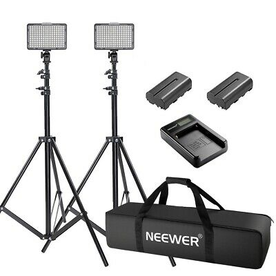 Neewer 2pcs on Camera Dimmable 176 LED Video Light Light and Stand Kit
