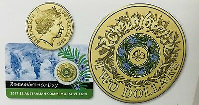 2017 $2 UNC REMEMBRANCE DAY ROSEMARY COLOURED COIN  ON CARD-Free Post