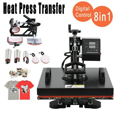 8 in 1 Digital Heat Press Transfer T-Shirt Mug Hat Sublimation Machine 12x15
