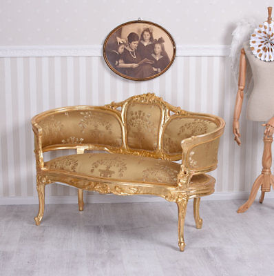 Rococo Style Sofa Gold Bench Vintage Couch Baroque Style Furniture