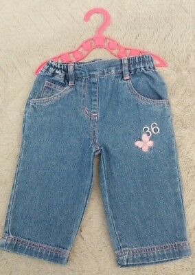 Baby Girls Blue Jeans With Butterfly (0-3 Months) - By Tiny Ted
