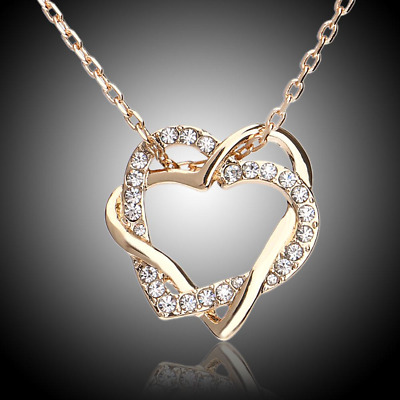 New Silver Gold Plated 2 Double Layer Retro Chain Choker Necklace Heart Pendant