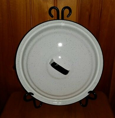 Vintage Large Enamelware Graniteware Stock Pot Lid Only White w/Black Speckles