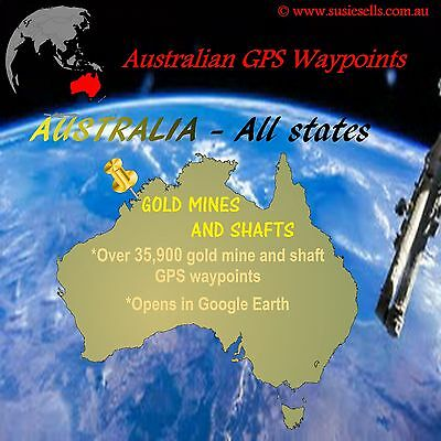 GPS points on CD for 35000+ GOLD MINES & SHAFTS Australia. Use With Gold Maps