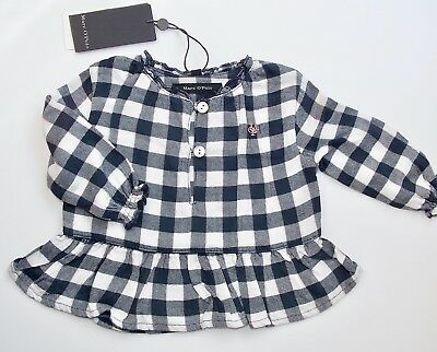 Marc O´Polo Newborn Girls Bluse / Tunika 1/1 Arm gr. 56 marine / weiß kariert
