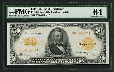 Fr1200 $50 1922 Gold Note Pmg 64 Very Choice Unc Wlm5741