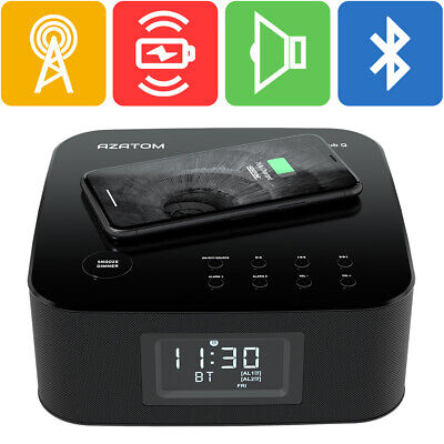 Wireless charger Clock Radio iPhone X 8 8+ Samsung Bluetooth AZATOM HomeHub Q