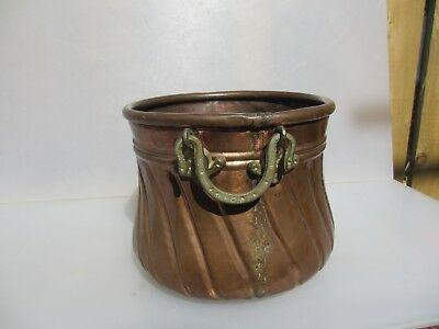 Vintage Copper Planter Plant Pot Tub Basket Brass Handles Cauldron Pan Ribbed
