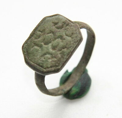 Ancient Bronze Finger Pseudo-Heraldry Stamp Ring (DCR04)
