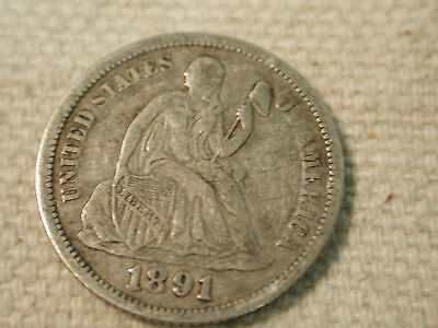 1891-O U.S Seated Liberty Dime Extra Fine