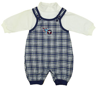 NFL Baby Boys Newborn Tennessee Titans Flannel Overall Set, Blue Plaid/White