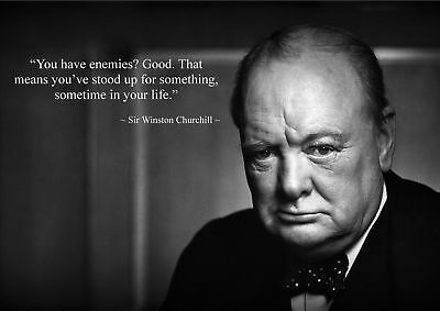 Winston Churchill Inspirational / Motivational Quote Poster Print A5..a4. Or A3