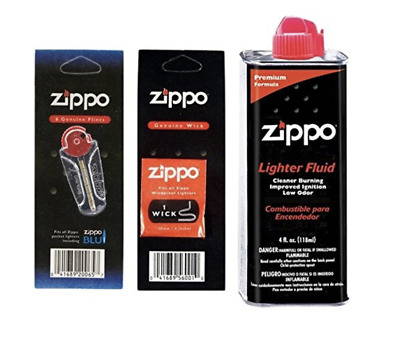 Zippo 4oz Fuel Fluid 1 Flint & 1 Wick Value pack Combo Fast Free U.S. Shipping