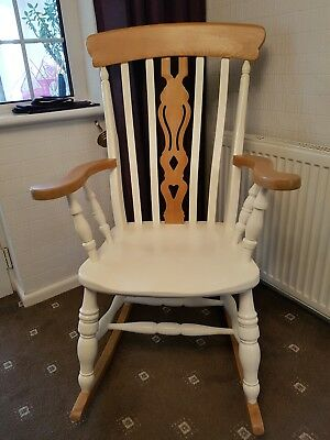 shabby chic wooden rocking chair & SHABBY CHIC SOLID wooden rocking chair: sturdy - £57.00 | PicClick UK