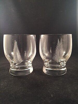 "2 Stuart Crystal WOODCHESTER Cut 3 3/8"" Tall Large Whisky Tumblers Stunning"