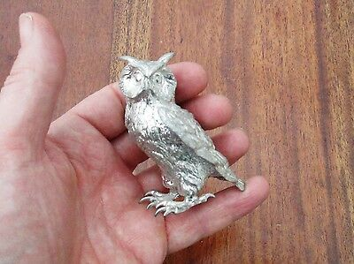 Good Quality English Silver On Bronze / Brass Statue Of A Wise Old Barn Owl