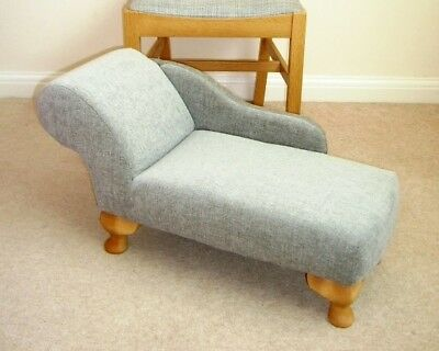 Chaise Longe - half size, grey chenille fabric on queen anne legs