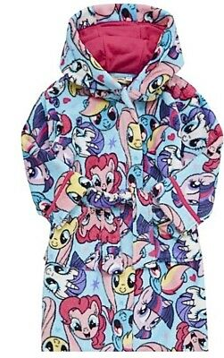 My Little Pony Girls Dressing Gown Fleece Hooded Robe 3-12 Years New