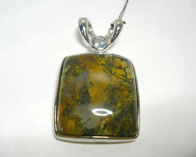 "Moss Agate and White Topaz Pendant .925 Sterling Silver 26 Gr. 1.25"" New"