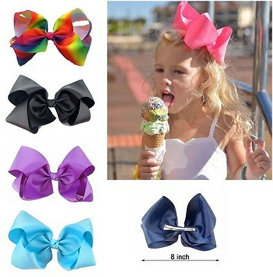 8 Inch Baby Bows Boutique Hair Clip Alligator Clips Grosgrain Ribbon Bow Girl Uk
