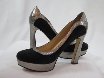 Audrey Brooke Black Suede and Silver Metallic Platform Heels 7
