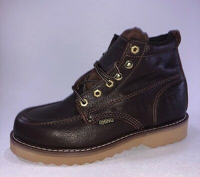 Rhino 62M28 Mens Brown Leather 6 Inch Soft Toe Lace Up Work Boots