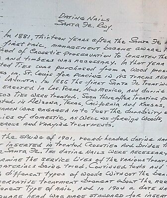 """Copy 1970 Letter """"Dating Nails / Santa Fe Rwy"""" Interesting History on Date Nails"""