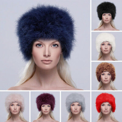 Women Real Ostrich Feather Fur Hat Russian Cossack Style Cap 9 Color to Choose