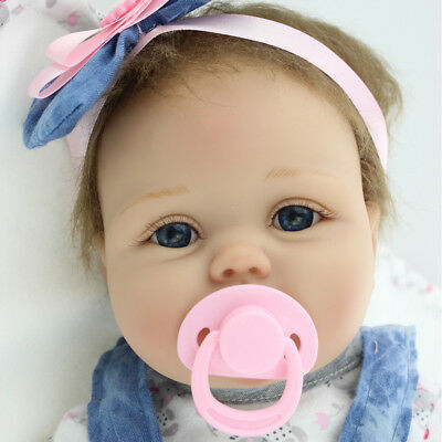 Lovely 22'' Handmade Full Silicone Vinyl Reborn Baby Doll Newborn Girl RealLife