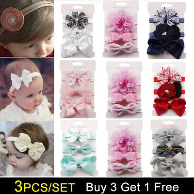3pcs Newborn Girl Baby Headband Ribbon Bow Elastic Headdress Kids Hair Band Hot