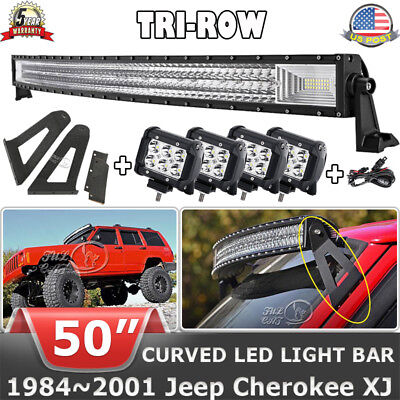 """Wiring Kit For 1984-01 Jeep XJ Cherokee Curved 50/""""LED Light Bar w//2 Pods Light"""
