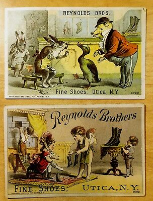 2 Victorian Trade Cards REYNOLDS BROS SHOES Anthropomorphic DRESSED PIG & RABBIT