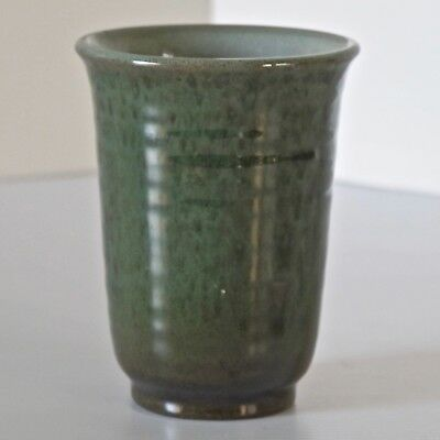 Latvian Stoneware Cup, Duochrome Green Glaze on Brown, Relief Mark  4686