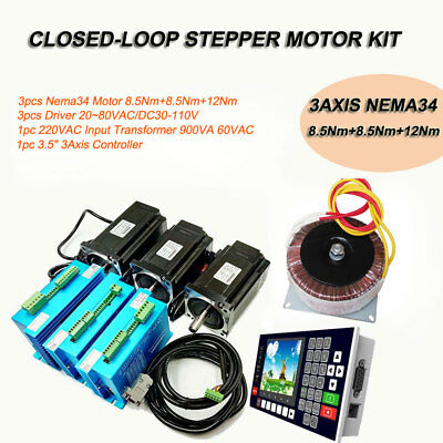 NEMA23 Nema34 3Axis Closed-loop Stepper Motor Driver&Supply&Controller Full Set