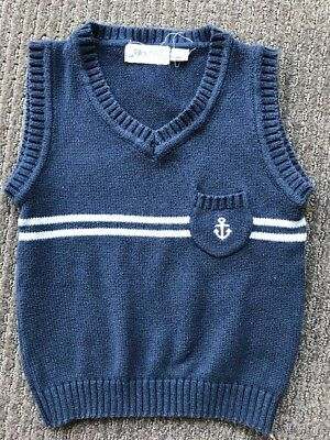 Willow & Jag Toddler Baby Boys Blue Knit Vest Size 2 Years